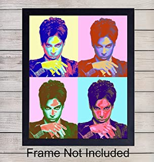 Prince Wall Art Print - Perfect Gift for 80s Music Rock n Roll Fans and Guitar Players - Modern Warhol Pop Art - Cool Home Decor - Unframed 8x10 Vintage Photo