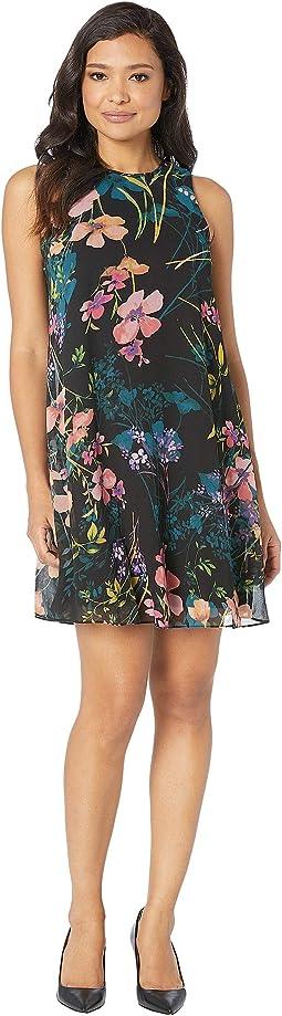 Floral Print Chiffon Trapeze Dress