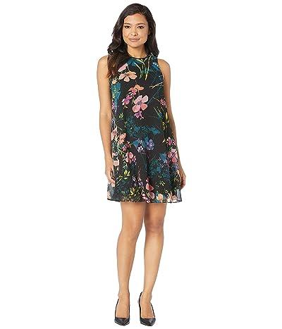 Calvin Klein Floral Print Chiffon Trapeze Dress (Coral Multi) Women
