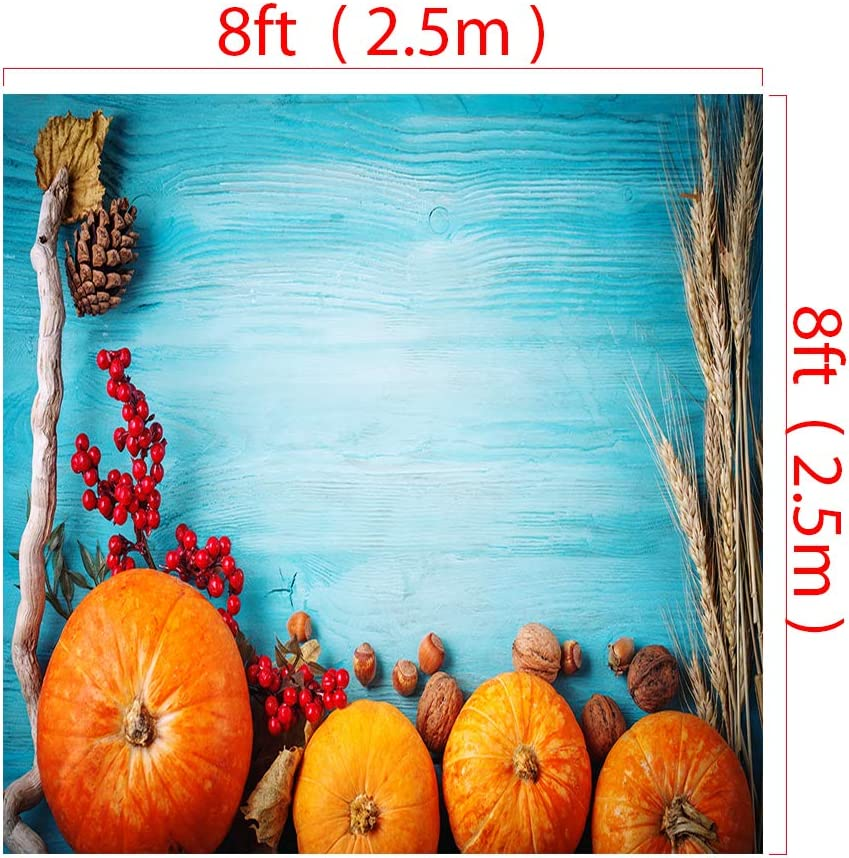 RBQOKJ 10x10ft Thanksgiving Blue Wood Backdrop Autumn Harvest Festival Photography Background Pumpkins Fruits and Vegetables Decor Backdrop for Holiday Party Photo Shoot Prop