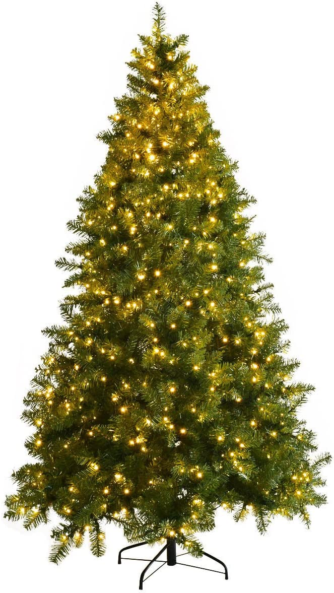 Goplus NEW Pre-Lit Christmas Tree Artificial Hinged PVC Spruce Sale item with