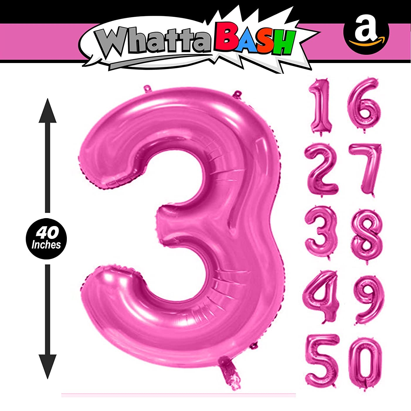 40 Inch Pink Jumbo Number 3 Three Balloon - Giant Large Balloons Foil Decorations Supplies For Birthday Party Wedding Bridal Shower Anniversary Engagement Photo Shoot Gift Accessories (Pink, Number 3)