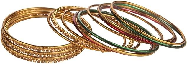 Jewel Pari Fashion Jewelry Indian Bollywood Gold Plated Multicolor Simple Plain Crystal Bracelet Bangle Set (18 Pcs)