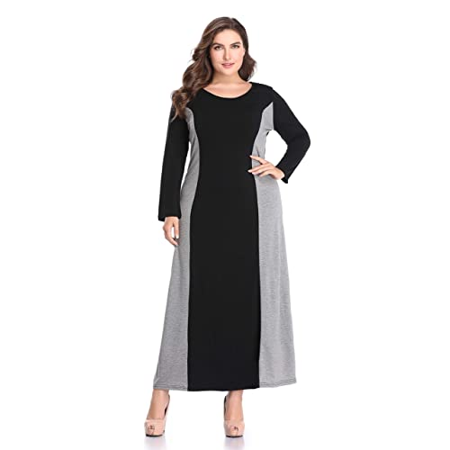 eea007456c0 AUDATE Women s Plus Size Long Sleeve Color Block Round Neck Maxi Dress with  Pocket
