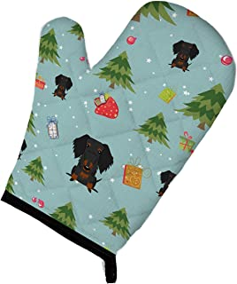 "Caroline's Treasures Christmas Wire Haired Dachshund Black Tan Oven Mitt, 12"" by 8.5"", Multicolor"