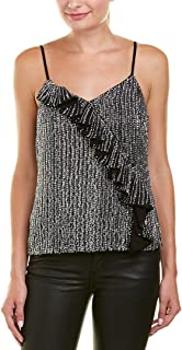 Parker Thatch Womens Justine Spaghetti Straps Embellished Camisole Top Black S