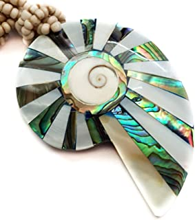 Natural Abalone Shell Mother of Pearl Shiva Eye Shell Pendant 19 Inches Beads Necklace Handmade Women Jewelry EA209-R
