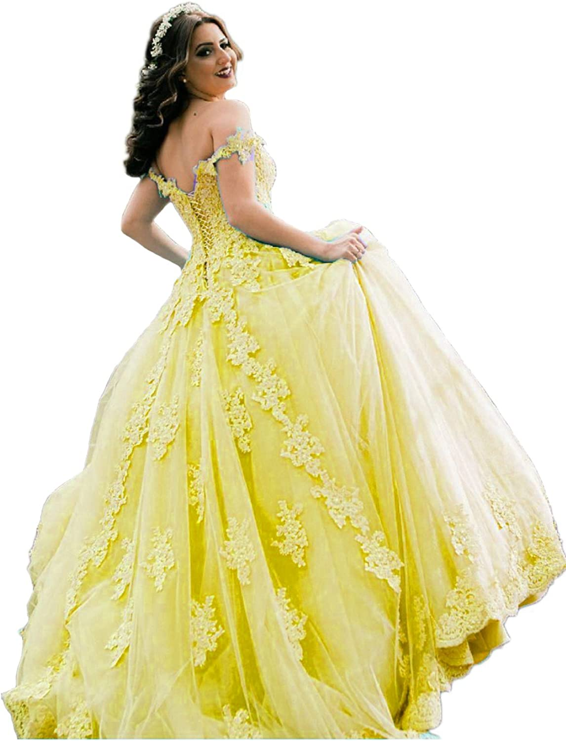 Beilite Women's Off Shoulder Appliques Quinceanera Dresses Beaded Long Prom Ball Gown