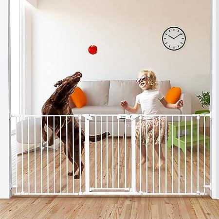 "Tokkidas 79""-23.6"" Auto Close Baby Gate, Extra Wide Child Safety Gates, Configurable 3 Panels Hardware Mount Walk Thru Dog Gate for Stairs, Kitchen, Doorways, Play Area, 30"" Tall"