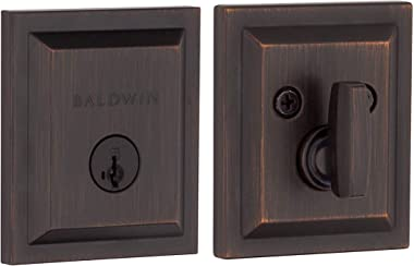 Baldwin Torrey Pines Single Cylinder Square Deadbolt for Front Door and Garage Door Featuring SmartKey Security in Venetian B