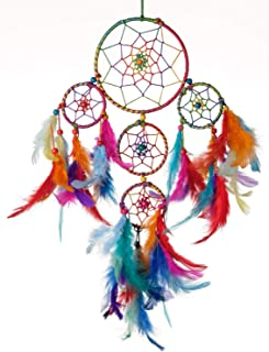 Rooh 4 Tier Feather and Wool Dream Catcher (20 cm x 1 cm x 40 cm)