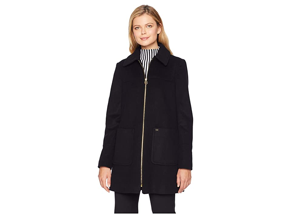 MICHAEL Michael Kors Zip Front Wool with Patch Pockets M123822GZ (Black) Women