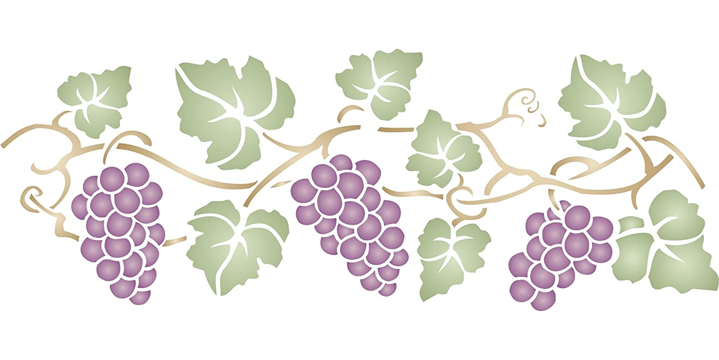 "Grapevine Stencil (size 18""w x 6.5""h) Reusable Stencils for Painting - Best Quality Border"