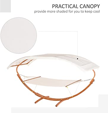 Outsunny 13' Wooden Arc Outdoor Hammock with Modern Curved Stand, Comfortable Polyester Fabic and Steel Frame, White