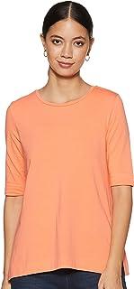 Amazon Brand - Symbol Women's Solid Regular Fit 3/4 Sleeves cotton T-Shirt