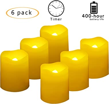 6 PCS 400-hour Long Lasting Battery Operated Flameless LED Votive Candles with Timer Realistic Flickering Electric Tea Lights Baptism Wedding Party Decorations Home Decor Centerpieces Batteries Incl.