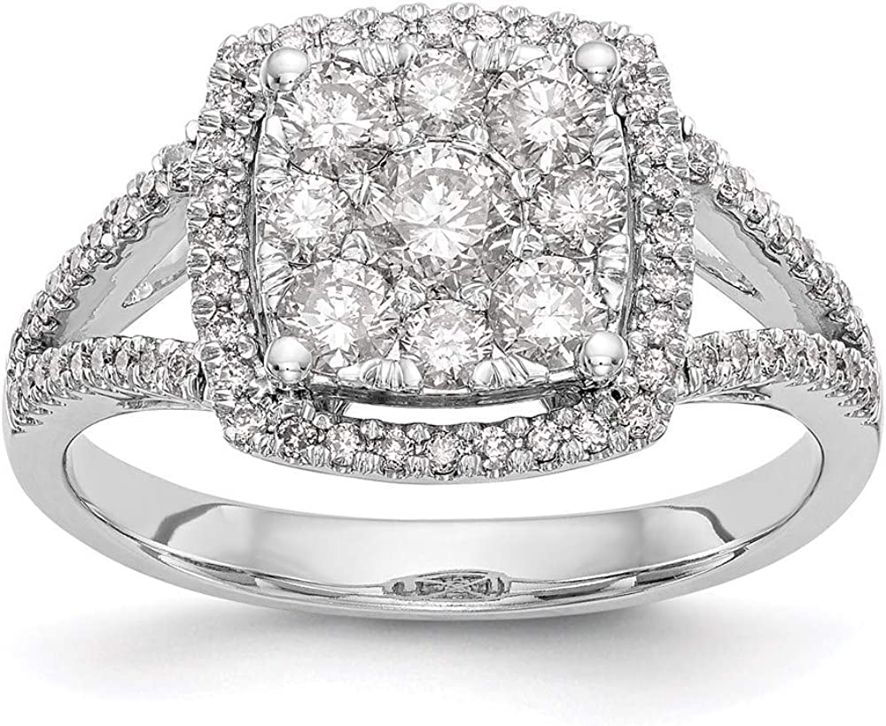 14k 1 year warranty White Gold Complete Diamond Brand new Cluster Size 7 Ring Engagement