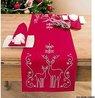 Vervaco Tischläufer Rehe & Eiskristalle Stickpackung/Läufer im vorgedruckt/vorgezeichnet, Baumwolle, Mehrfarbig, 30 x 105 x 0.3 cm