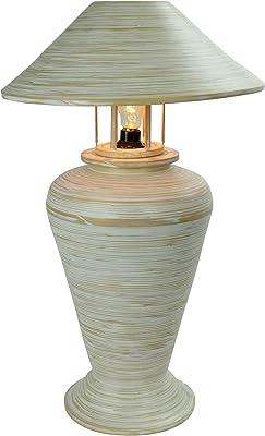 Fine Asianliving Bamboo Table Lamp Spiral Handmade White D40xH65cm