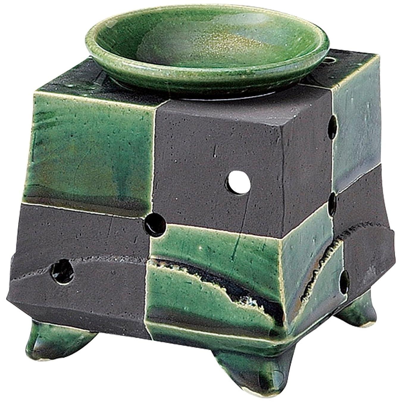 過剰オーロック亜熱帯山下工芸 常滑焼 佳窯織部黒市松茶香炉 11.5×11.5×11.5cm 13045770