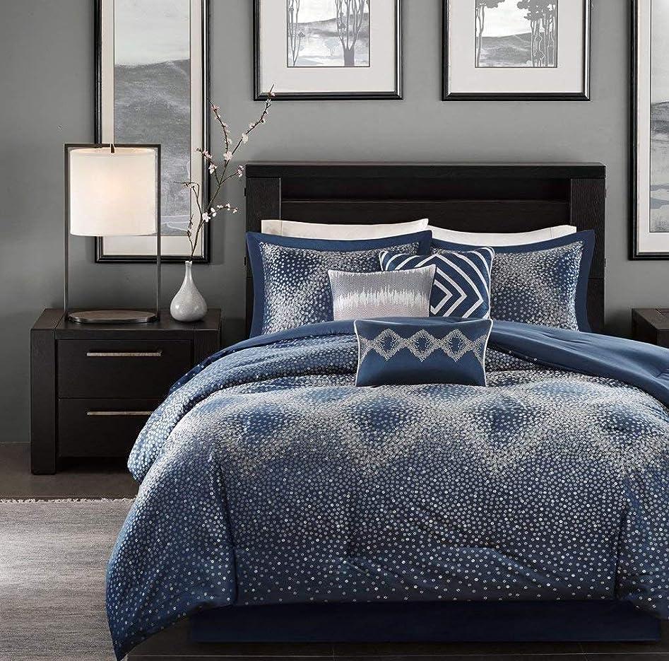 衝突コース気絶させる荒涼としたKUP 7点セット ネイビー 美しい掛け布団セット クイーンサイズ マスター寝室 ウルトラソフトマイクロファイバーの寝室 ポリエステル100%