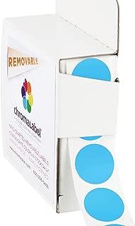 ChromaLabel 3/4 Inch Round Removable Color-Code Dot Stickers, 1000 per Dispenser Box, Light Blue