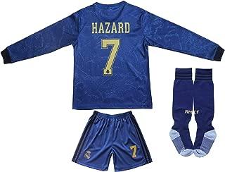SecenMerch 2019/2020 New Hazard No #7 Real Madrid Away Kids Long Sleeve Soccer Jersey Kit Shorts Socks Set Youth Sizes