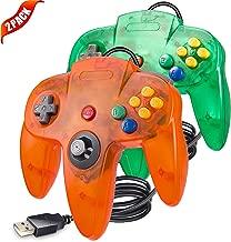 LUXMO PREMIUM Classic N64 USB Controllers Gamepad Joystick for Windows PC Mac Linux Raspberry pi3 Genesis Higan Retro Pie (Green/Orange)