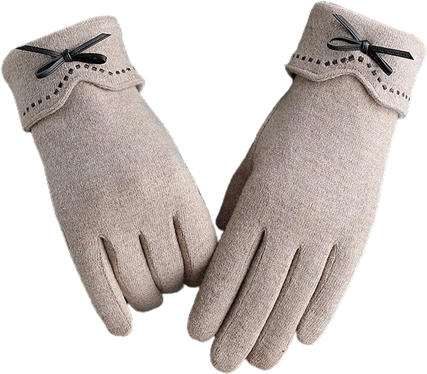 Winter Gloves for Women, Warm Touchscreen Texting Gloves Faux Wool Cute Bowknot Plush Soft Linin Mittens for Running Driving