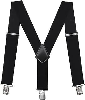 "Fasker Mens Suspenders Y-back 2"" Wide Adjustable Braces Solid Straight Clip Suspenders"