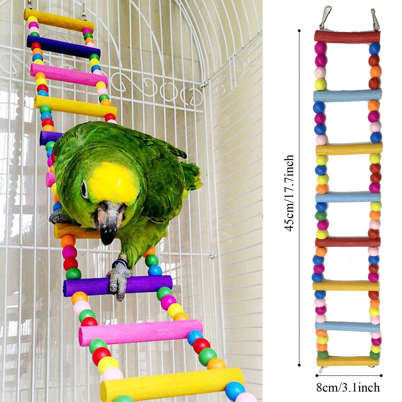 Escalera de madera Colorido Columpio Juguetes Que cuelga la Perca Juguete para P/ájaros Loros PietyPet 6 Piezas P/ájaros Juguetes con Campanas Juguetes para P/ájaros Hamaca de Madera