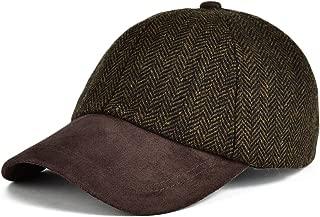 Men's Wool Blend Baseball Cap Herringbone Tweed Ball Cap Check Woolen Adjustable Peaked Cap