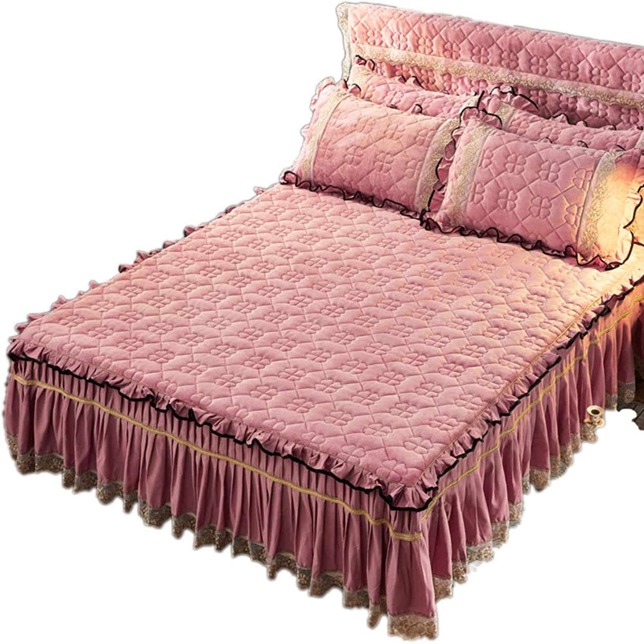 下る前奏曲類推3 つの布側面 ラップ ベッドスカート, 弾性 固体 ベッド 簡単に 簡単オフ ほこり Ruffled 毛布 耐フェード-f 150x200cm