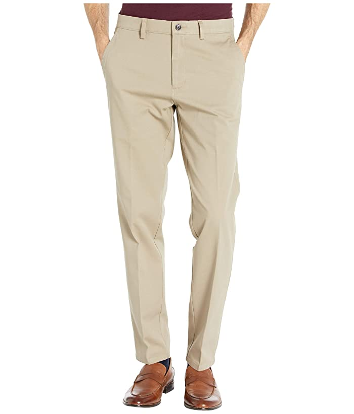 Kenneth Cole Reaction  Four-Way Stretch Solid Twill Slim Fit Flat Front Chino (Medium Khaki) Mens Dress Pants