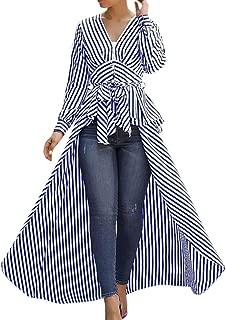 Women 2019 Sexy Fashion Irregular Hem Stripe Bow Tie V-Neck Long Sleeve Loose T-Shirts Tops Blouse
