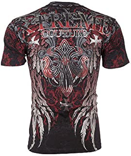 Affliction  Xtreme Couture Men T-Shirt Bold Cipher Wings Tattoo Biker MMA UFC