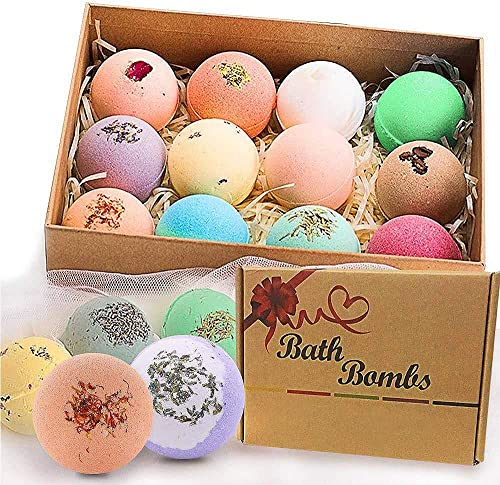 Bath Bombs Gift Set, JRINTL 12 made Fizzies, Shea & Coco Butter Dry Skin Moisturize, Perfect for Bubble & Spa Bath. H...