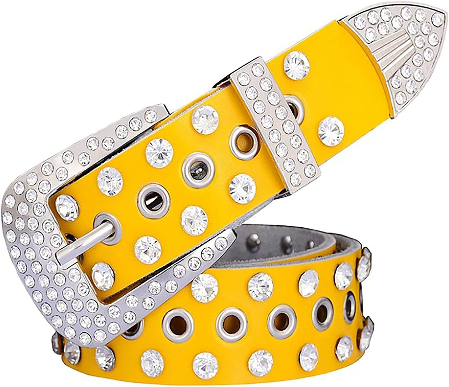 xzyq Women's Genuine Leather Round Bel Today's only Western Hole Diamond Selling rankings Belt