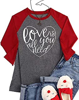 Love is All You Need Shirt for Women Valentine's Day Love Heart Graphic Baseball Tee 3/4 Sleeve Raglan Tops