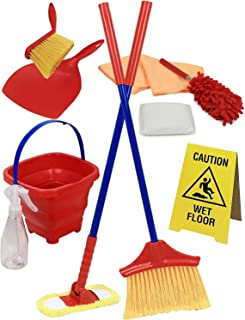 Click N' Play Click N' Play 10Piece Pretend Play Educational Housekeeping Cleaning Set Includes A Broom, Dustpan, Duster, Mop, Collapsible Bucket, Sponge & More, Multicolor