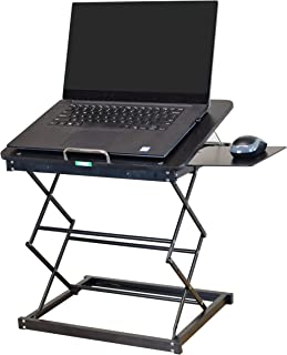 CD4 Portable Laptop Standing Desk Converter & Adjustable Laptop Desk Stand. Ergonomic sit Stand up Desktop Riser Topper Sm...