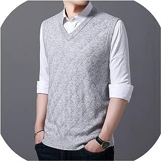New Sweaters Men Pullover Vest V Neck Slim Fit Jumpers Knitwear Winter Jacquard Sleeveless