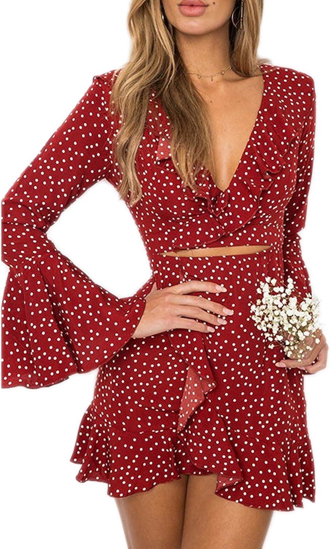 Mansy Womens Polka Dot Ruffle Hollow Wrap Long Sleeve Short Tea Dresses