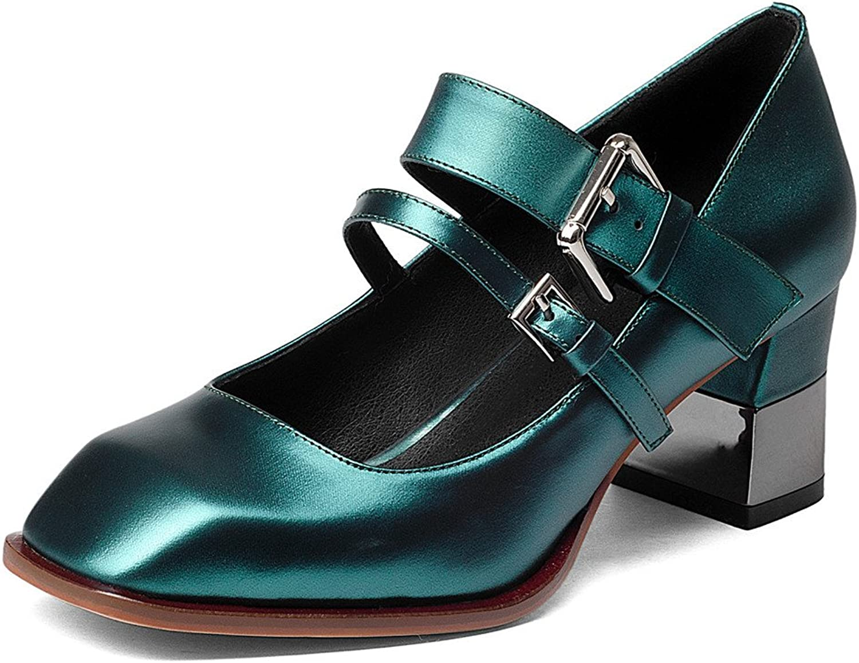 Nine Seven Women's Retro Mary Jane Block Heels, Strappy Buckle Handmade Dress Comfort Pumps shoes