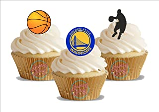 12 x Basketball Golden State Warriors Mix - Fun Novelty Birthday PREMIUM STAND UP Edible Wafer Card Cake Toppers Decoration