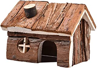Natural Wooden Hamster House Cage Small Animals House with Chimney for Pet Rats Gerbil Hideout Play House