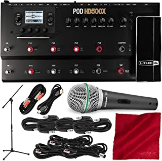 Line 6 POD HD500X Guitar Floor Multi-Effects Pedal with Microphone & Assorted Cables Deluxe Bundle