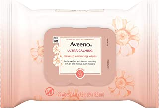 Aveeno Ultra-Calming Makeup Removing Facial Cleansing Wipes with Feverfew Extract, Oil-Free Soothing Face Wipes for Sensit...