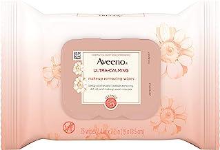 Aveeno Ultra-Calming پاک کردن روغن بدون آرایش پاک کردن دستمال مرطوب برای پوست حساس، 25 تعداد