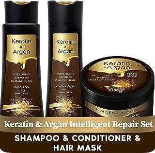 VISAGE Mascarilla capilar 500ml + Shampoo 250ml + Acondicionador Pelo 250ml | Con aceite de argán y queratina | Mascarilla...